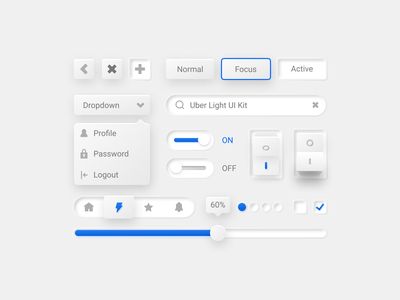 Uber Light UI Kit user interface ui dropdown menu toggle switches switch soft ui trend slider skeumorphism skeumorphic shadow neumorphism neumorphic light kit focus dropdown 2020 design