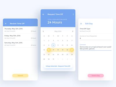 Time Off App Concept montserrat ux ui text fields calendar picker material calendar time off app time off material material design android