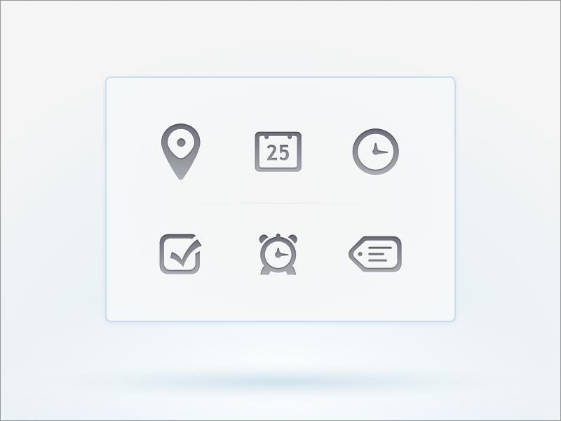 Calendar Icons calendar location date time reminder alarm title app iphone practice sketch