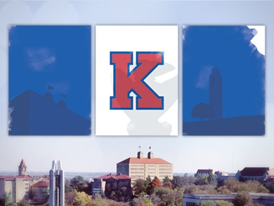 Gameday poster tryptic kansas university of kansas kansas city blue lawrence ku art print crimson jayhawk