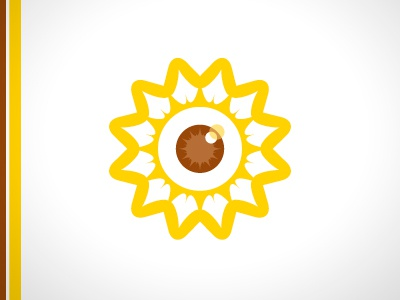 Smart Family Vision logo identity sunflower eye optometry doctor