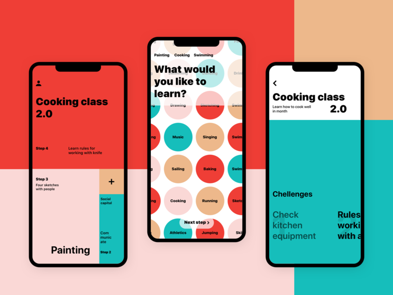 Сhallenge app todo layout color block challenge design interface ios clear simple minimal color typography ux ui app mobile