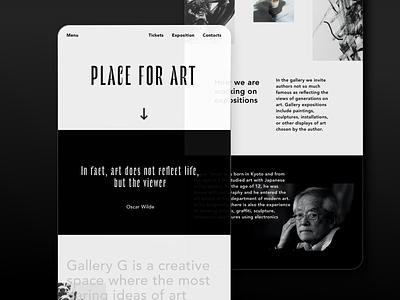 Gallery site marketing design landing page homepagedesign homepage user inteface ux  ui mockup clean design minimal ui layout interface design black and white typogaphy simple clear web design website web