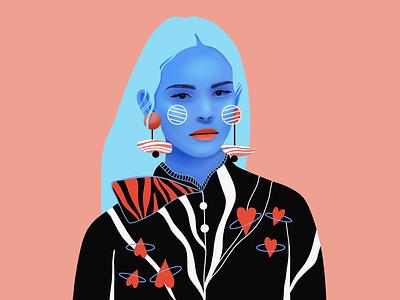 Portrait web texture portrait girl editorial design graphic ux ui flat simple vector icon illustration