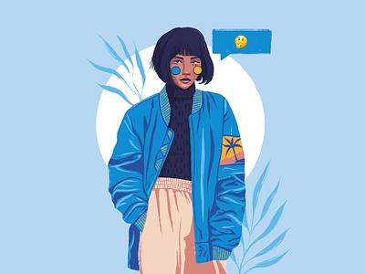 🤔 textures team girl artwork art web character ux simple ui flat texture design vector illustration