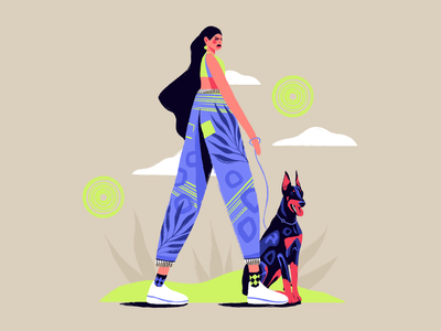 The danger in the air. illustration art vectorart editorial fashion dog girl character art icon web simple flat ux ui texture design vector illustration