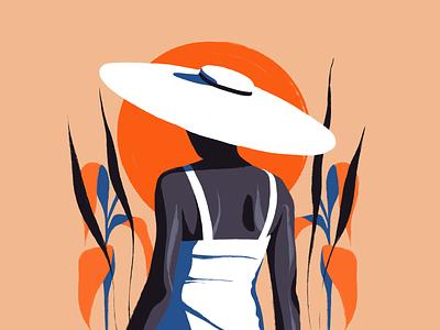 Elegance character elegant girl art icon simple flat ux ui texture vector design illustration