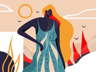 When will it stop? procreate illustrator illustration art website plant character girl web simple ux flat ui texture design typography vector illustration