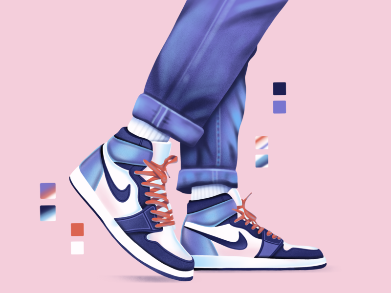 Nike gradient shoe shop sneaker nike character art icon web simple ux flat ui texture design vector illustration