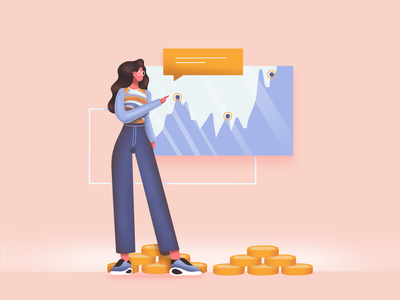 Cryptocurrency girl crypto wallet cryptocurrency crypto character ux art icon flat web simple ui design texture vector illustration