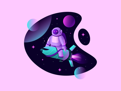 The Astronaut graphic art graphicdesign rocket astronaut character branding flat logo ux ui texture design vector illustration
