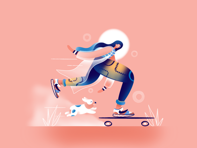 Sweet Skating skate dog corgi sweet character art ui icon ux web simple design flat texture typography vector illustration
