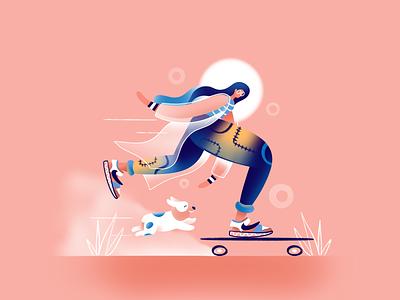 Sweet Skating skate dog corgi sweet character art ui icon ux web simple design flat texture typography vector illustration