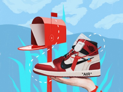 Nike Off-White user interface graphic sneaker jordan nike air nike art web simple flat ux ui texture vector design illustration