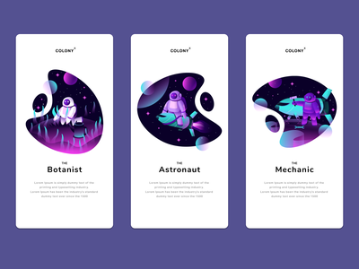 Colony app illustrations app user experience graphicdesign spaceship space astronaut character art web simple ui ux flat texture design vector illustration