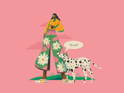 Woof! simple gradient girl dog motion graphics 3d graphic design typography branding logo ux ui flat texture design vector illustration