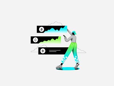 Locklet.finance blockchain character girl flat locklet token crypto graphic design animation branding logo ux ui texture design vector illustration