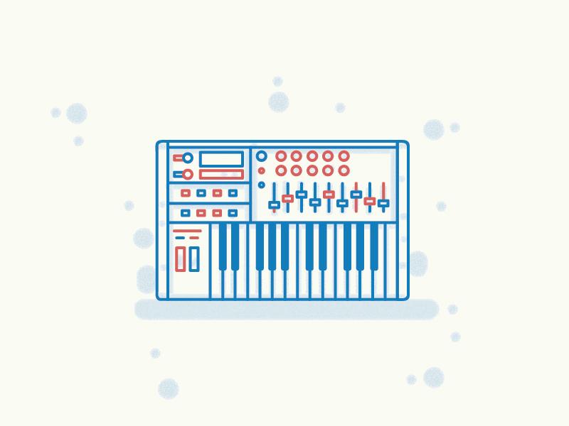 MIDI Synth outline draw minimal illustration icon vector flat synth music midi