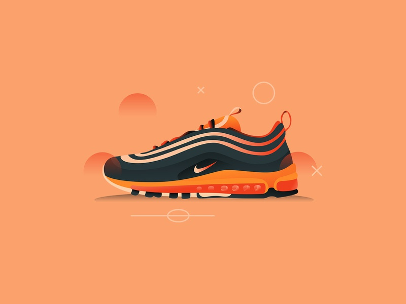 Air Max 97 airmax nike character art icon web ui simple texture design vector illustration