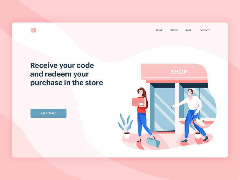 Receive your code and redeem your purchase in the store minimalism typography animation editorial download icons graphic character art icon minimal web ux ui simple flat texture design vector illustration