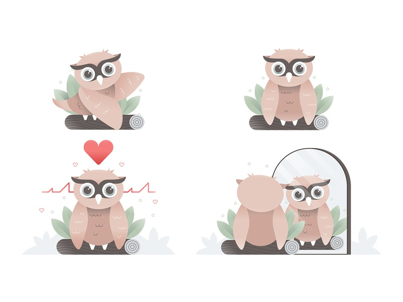 Owl Illustrations branding simple web flat texture logo icons graphic character art icon ux ui heart cute animal owl design vector illustration