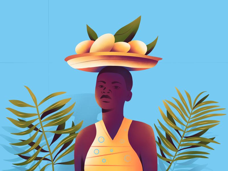 Lemonade design web girl character minimal ux ui graphic procreate plant summer lemon simple illustration