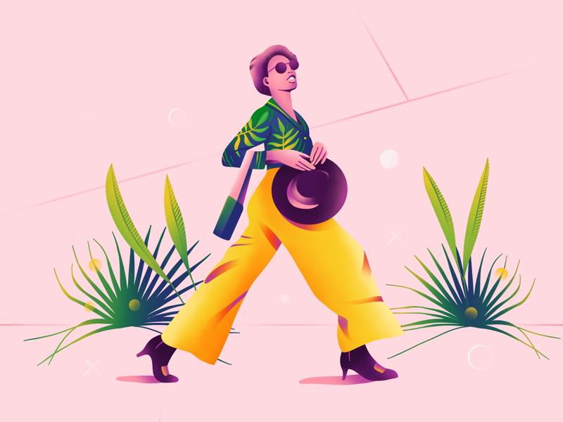 Walking girl walking girl character app vector web simple ux ui plant illustration