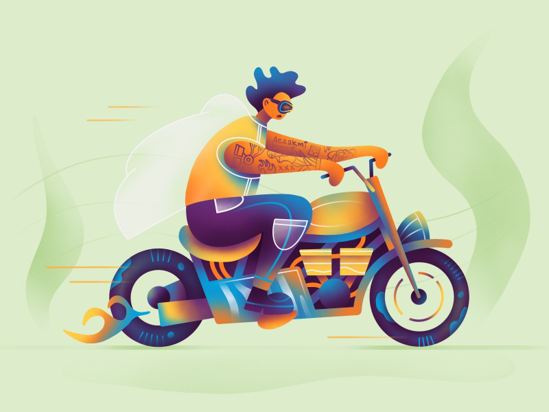 Rider graphic flat texture gradient ride bike moto branding web ux ui simple procreate art icons icon illustration