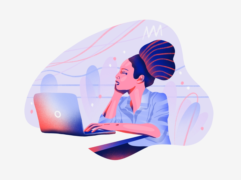 How do I get inspired all the time? character office art editorial branding web ux ui icon design flat simple vector illustration