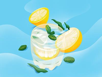 Lemonade design graphic art yellow lemon texture simple ux ui summer lemonade vector icon illustration