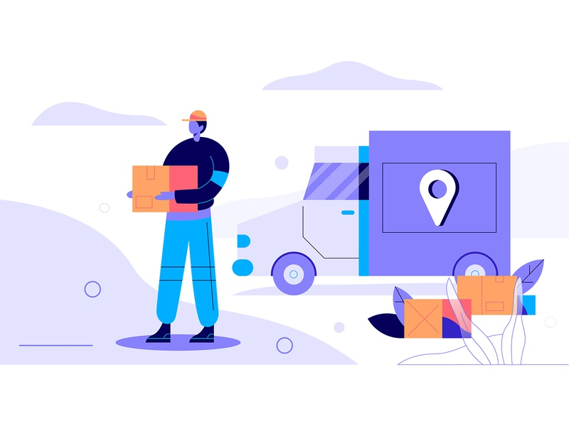 Delivery on your address download icons graphic character art minimal icon ux ui flat simple web delivery app post texture design vector illustration package delivery