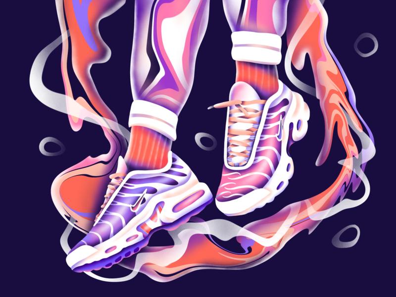 Nike TN nike sneaker sneakers nike air max nike running nike air art icon web simple ux ui flat texture design vector illustration
