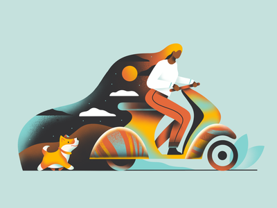 Mind girl character girl vespa motorcycle dog graphic minimal character art icon web simple ux ui flat texture design vector illustration