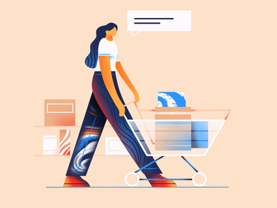 Shopping illustrator design graphic girl character shopping art ux ui vector illustration icon