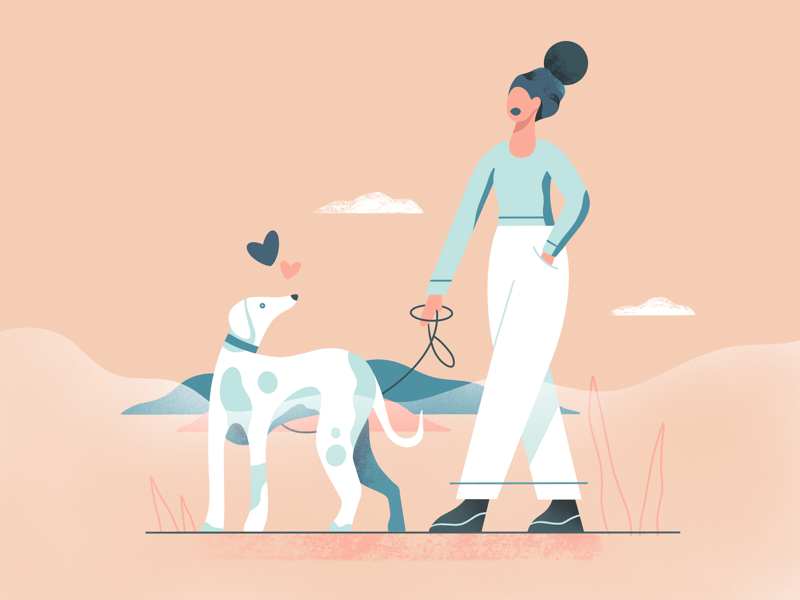 Walking art graphic web illustration web ux ui character pet dog simple vector illustration