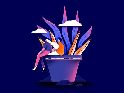 Couple team flat texture simple love vector web ux ui graphic design plant illustration couple