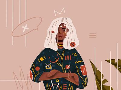 Portrait plant cat design graphic girl flat simple character art vector illustration