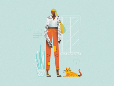Outfit design graphic grain clean minimal flat illustrator logo character girl simple web app ux ui illustration