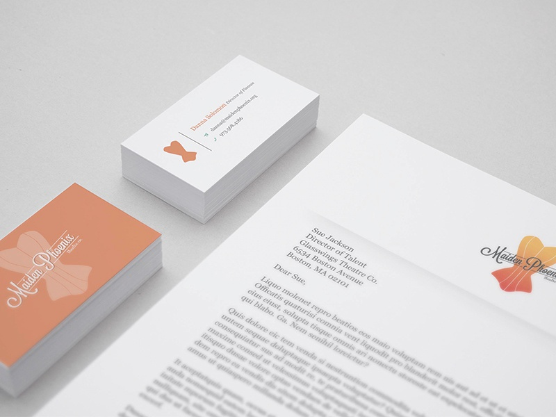 Maiden Phoenix Stationary branded collateral cards business card letterhead stationary
