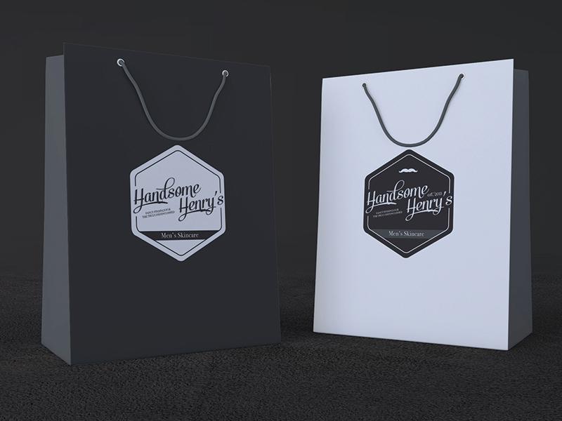 Handsome Henry's Retail Packaging hipster beard oil identity branding artisan skincare men retail packaging