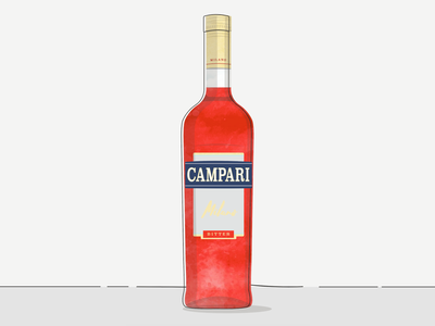 Campari cocktail paint bottle bar food milano spritz aperativo bitter print illustration alcohol drink