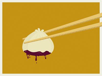 Xiaolongbao comic dim sum chopsticks dumpling food design print illustration