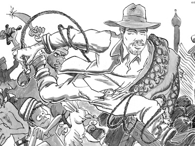 Indiana Jones humour ink illustration brazil mad