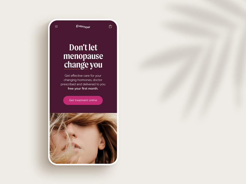 Evernow Mobile Landingpage telemedicine website mature patina feminine wave moret healthcare branding marketing landingpage mobile
