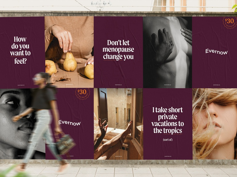 Evernow Ads gen x medical healthcare dtc poster mockup intimate menopause idendity branding marketing ads