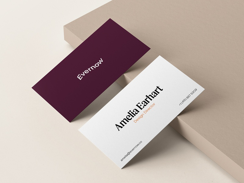 Evernow Business Cards autumn wave warmth identity design moret medical mockup womens health health branding identity business card
