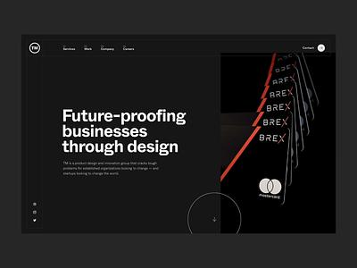 TM agency website parallax frame strategy tech whyte brex preloader floating grid agency portfolio website