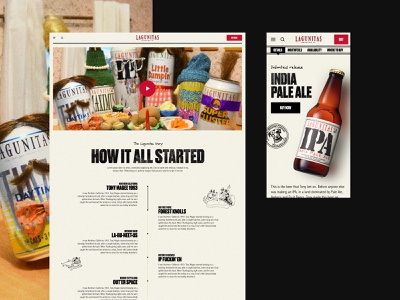 Lagunitas – About & Mobile PDP family drunk micro brewery dtc beverage alcohol beer timeline history about thanksgiving funny moustache hippie grunge textures boxes illustration design website