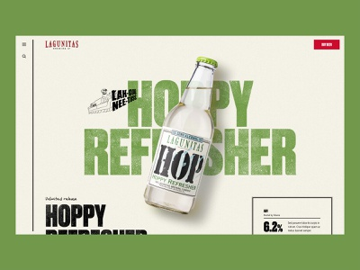 Lagunitas – Hoppy Refresher PDP grid parallax dtc beer product pdp ecommerce shop dog illustration textures grunge oldschool micro brewery hippie alcohol bar design marketing website