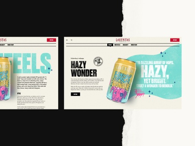 Lagunitas – Hazy Wonder Product Detail Page website pdp ecommerce marijuana cannabis beer alcohol high drunk product parallax dtc microbrewery brewery thc colorful dog grunge textures responsive
